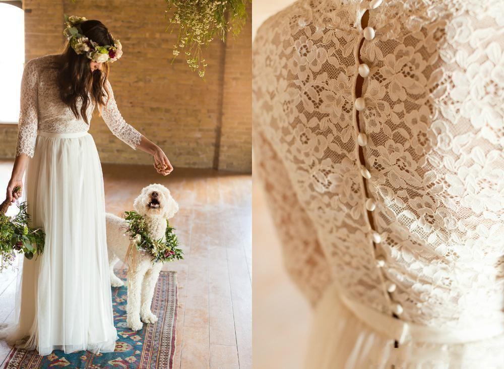 Cheap Wedding Dresses Lace: 2019 Bohemian Dress Vintage Lace Boho Beach Wedding