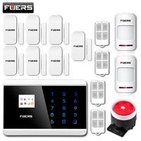 Fuers 안드로이드 IOS 터치 스크린 키패드 + LCD TFT 디스플레이 무선 GSM PSTN SMS 홈/집 보안 도난 음성 스마트 경보 시스
