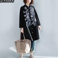 DIMANAF Women Blouse Linen 2018 Spring Long Sleeve Cardigan Print Female Lady Vestidos Casual Loose Black