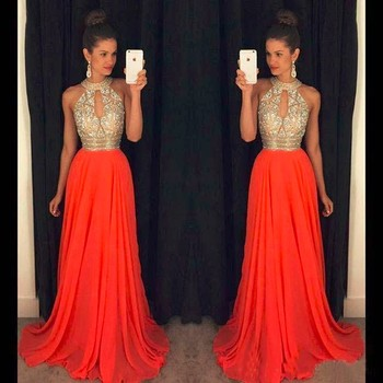 Orange Prom Dresses A Line Halter Top Crystal Beading Dress For Graduation Vestidos de formatura longo 2018 abendkleider 2