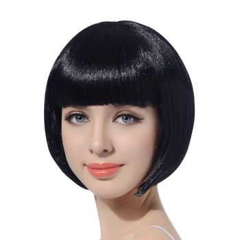 10″Bob Synthetic Wig With Bangs For Black Women Blonde Pink Red Black Short Natural Hair Bob Wig Cosplay Women's Wigs With Bangs