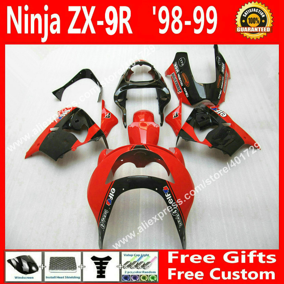 High quality Fairings for bodywork 1998 1999 Kawasaki ZX9R 98 99 popular red black fairing 7 gift KI8564