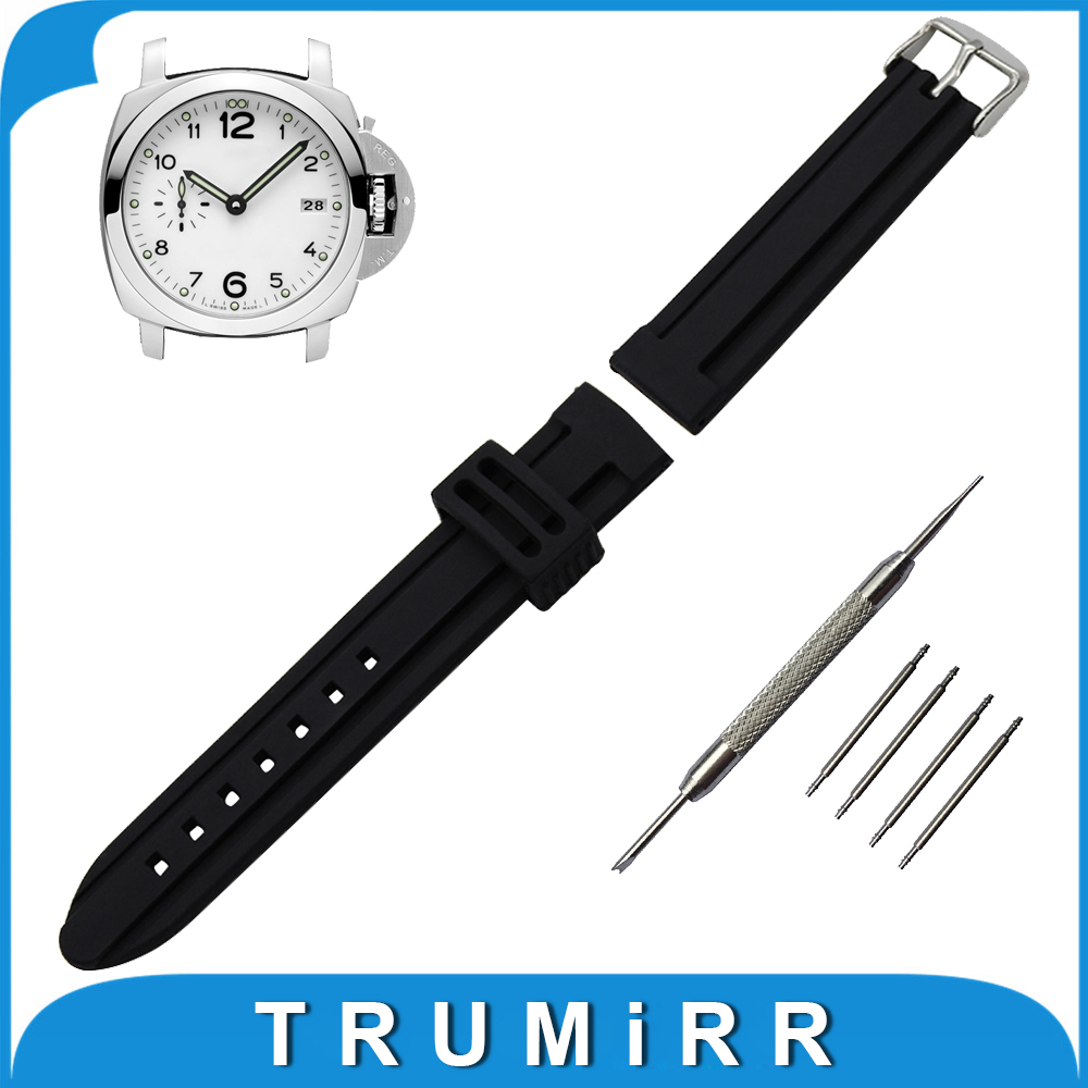 22mm 24mm 26mm Silicone Rubber Watch Band Stainless Steel Buckle Strap for Panerai PAM Luminor Radiomir Wrist Belt Bracelet silicone rubber watch band 15mm 16mm 17mm 18mm 19mm 20mm 21mm 22mm for mido stainless steel pin buckle strap wrist belt bracelet