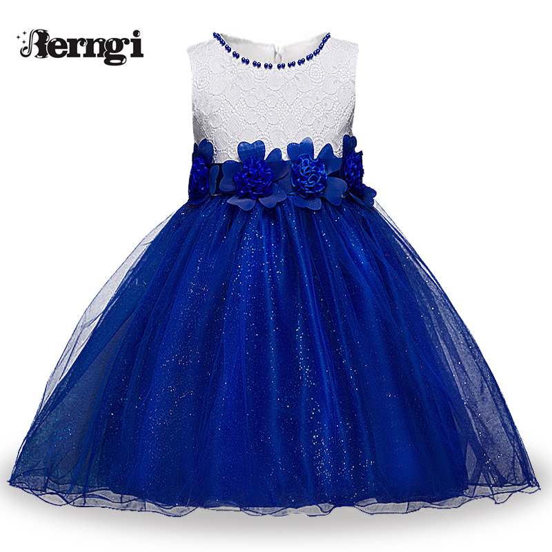 Berngi Red Princess Children Fancy Dress Ball Gown Lace Wedding Dresses Girls Kids Party Wear Clothes for 3-12 Years girls europe and the united states children s wear red princess long sleeve princess dress child kids clothing red bow lace