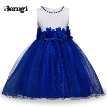 Berngi Red Princess Children Fancy Dress Ball Gown Lace Wedding Dresses Girls Kids Party Wear Clothes for 3-12 Years