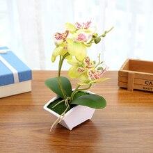 Fiore di seta Artificiale Multi color Farfalla Orchidea Fiore Falso Verde Foglie di Piante Con Vaso di Fiori Per La Casa Festa di Nozze Decorazione