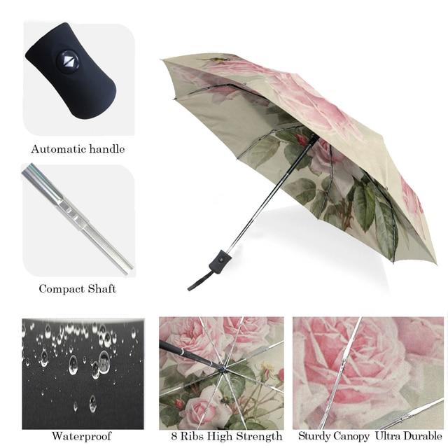 Vintage Shabby Floral Women Rain Umbrella Chic Pink Rose Three Folding Girl Durable Portable Umbrellas Automatic Rain Gear 4