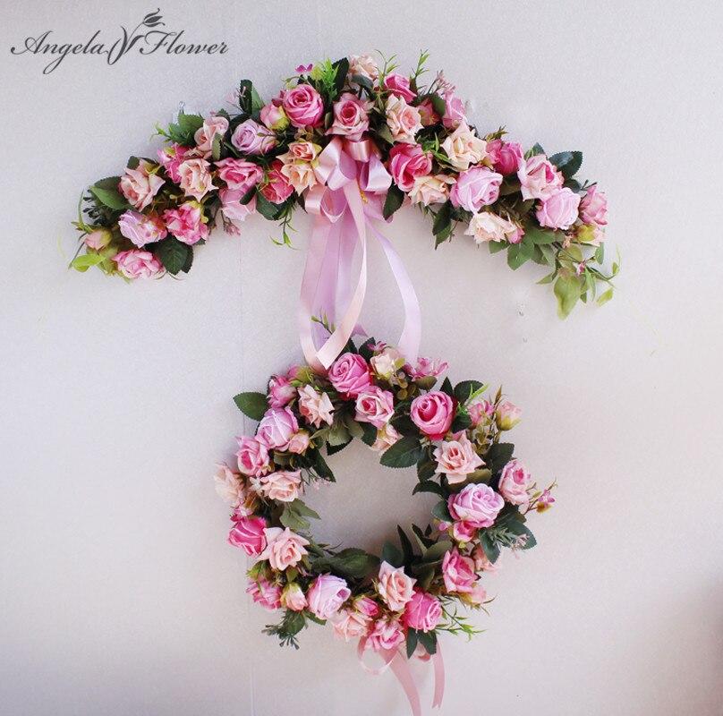 Европейский искусственный венок двери порог цветок DIY свадебный дома Гостиная Подвеска для вечеринок гирлянды Рождественский подарок украшение Роза купить на AliExpress