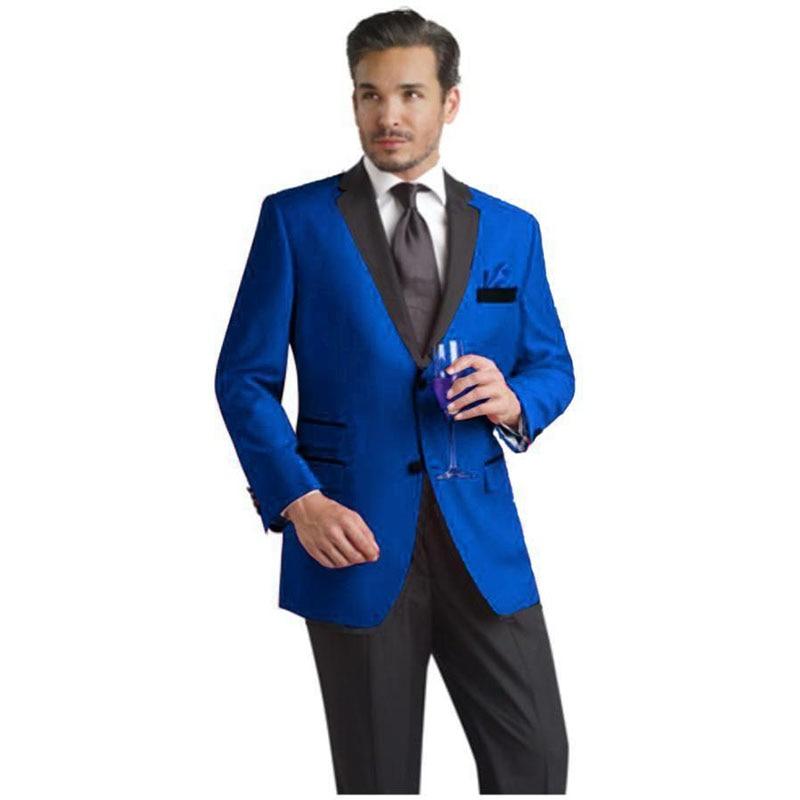 New Style Blue Mens Suits Groom Tuxedos Groomsmen Wedding Party Dinner Best Man Suits jacket+pants+tie W:45 Drip-Dry