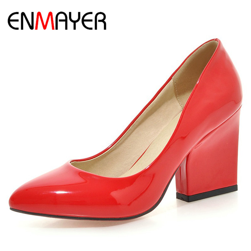 ENMAYER Spring Autumn Women Fashion Pumps Shoes Pointed Toe Slip-On Square Heel Large Size 34-43 Black White Red Beige Yellow  2017 women lady shoes flat heel spring autumn boat pointed toe slip on casual simple mixed color pink yellow blue black red