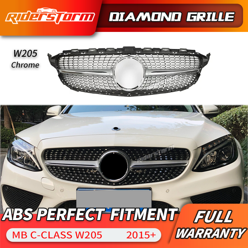 For C class W205 Diamond Front Grill  Front Mesh Grille Auto Part For Mercede C180 C200 C250  grille front bumper grille|Racing Grills| |  - title=