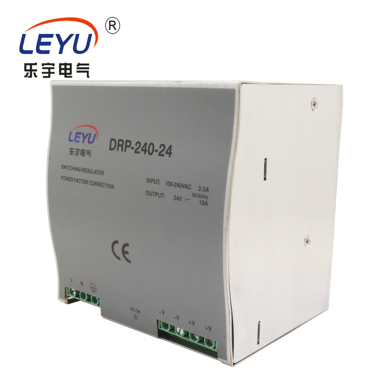 Chinese supplier DRP-240-24 Din Rail AC DC constant voltage single output led switching power supply nc dc dc dc adjustable voltage regulator module integrated voltage meter 8a voltage stabilized power supply