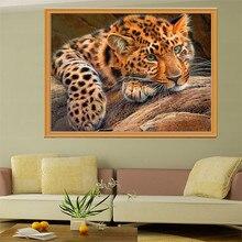 """5D quente Cheia de diamantes pintura ponto cruz """"leopard"""" diamant kit agulha de bordado patch de strass mosaico Decoração Da Sua Casa"""