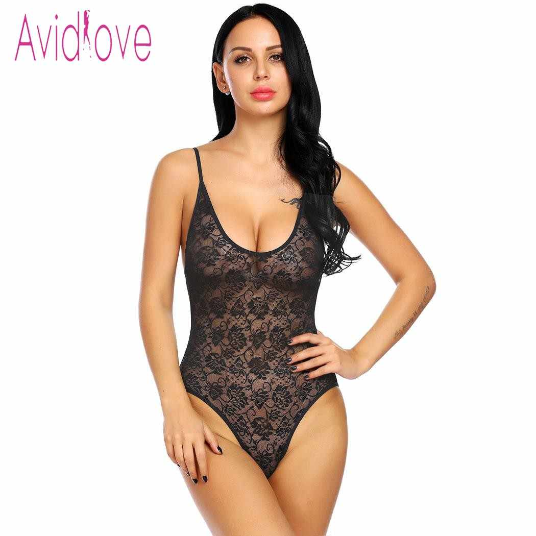 ea51053c4d Avidlove 2018 New Lingerie Sexy Hot Erotic Underwear Women Spaghetti Strap  Backless Floral Lace One Piece