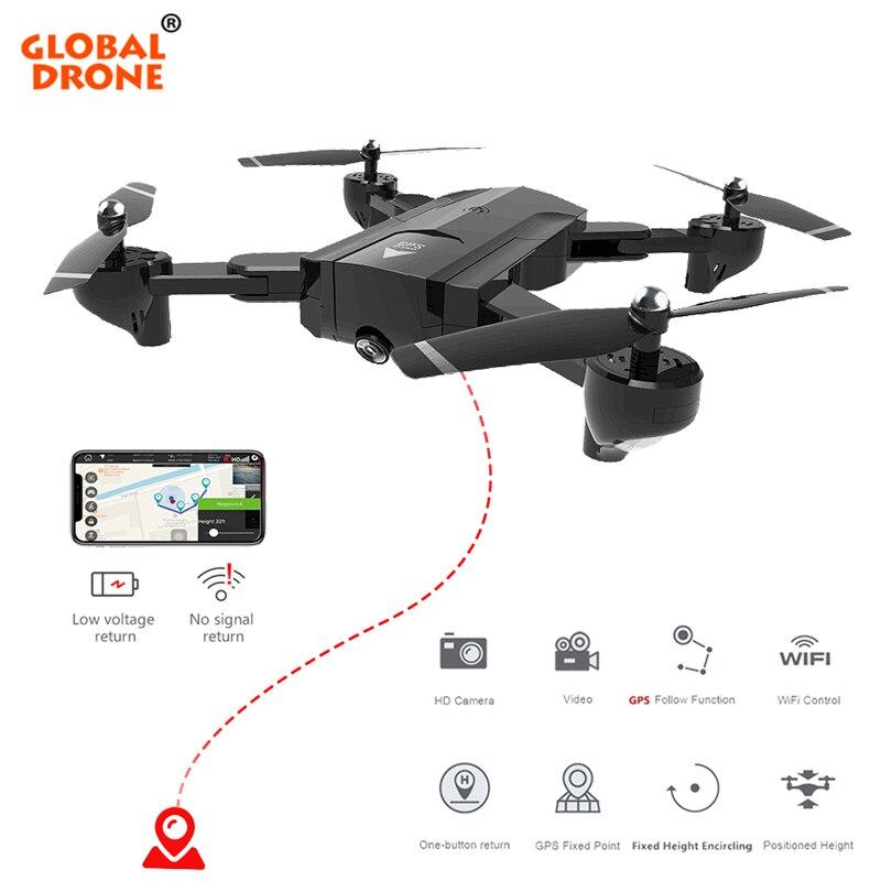 Mondiale Drone RC Hélicoptère Fly Caméra HD Pliable FPV Drone Profissional GPS Quadcopter Suivez-moi Drones Avec Caméra HD