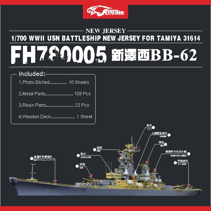 The United States Navy battleship New Jersey No. BB-62   Assembly model 1/700 Model