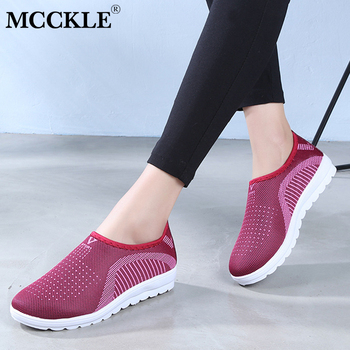 MCCKLE Vulcanized Shoes Autumn Mesh Flat With Loafers Plus Size Cotton Women Flats Casual Comfortable Walking Stripe For Female