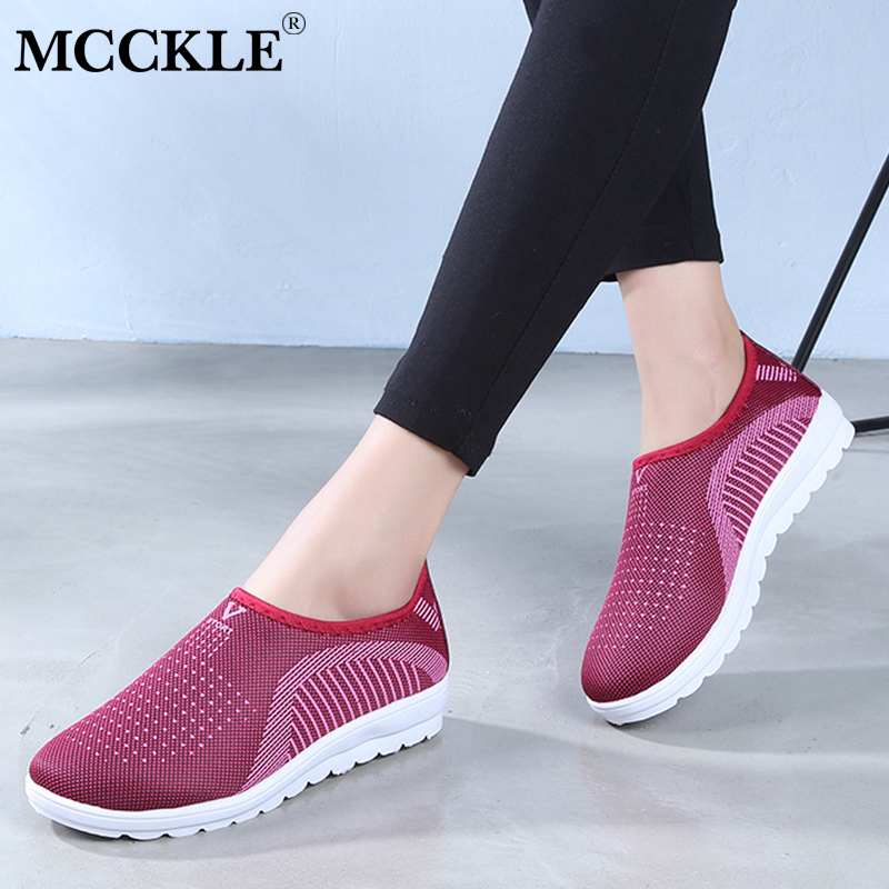 MCCKLE Vulcanized Shoes Autumn Mesh Flat With Loafers Plus Size Cotton Women  Flats Casual Walking Stripe ca29bedfb756