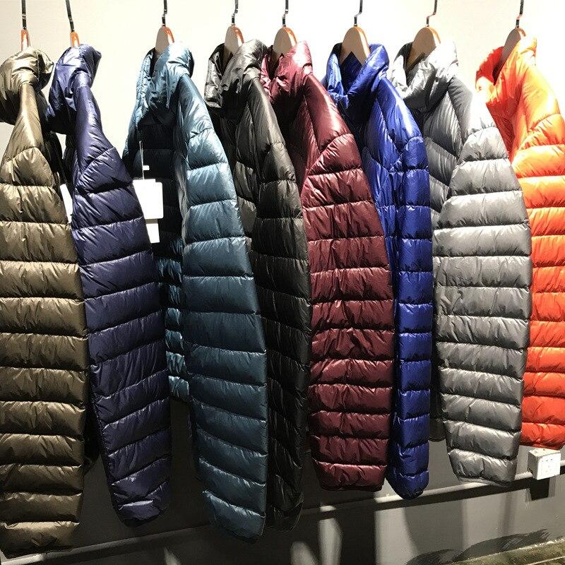 [Aiweier]Mens Down Jacket Big Size Winter Coats Zipper Solid Thin Male Ultra Light Stand Collar White Duck Down Jackets ALLD03
