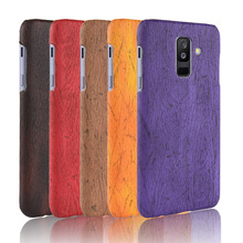 For Samsung Galaxy A6 Plus Case Hard PC+PU Leather Retro wood grain Phone Case For Samsung Galaxy A6 Plus Cover Luxury Wood Case стоимость