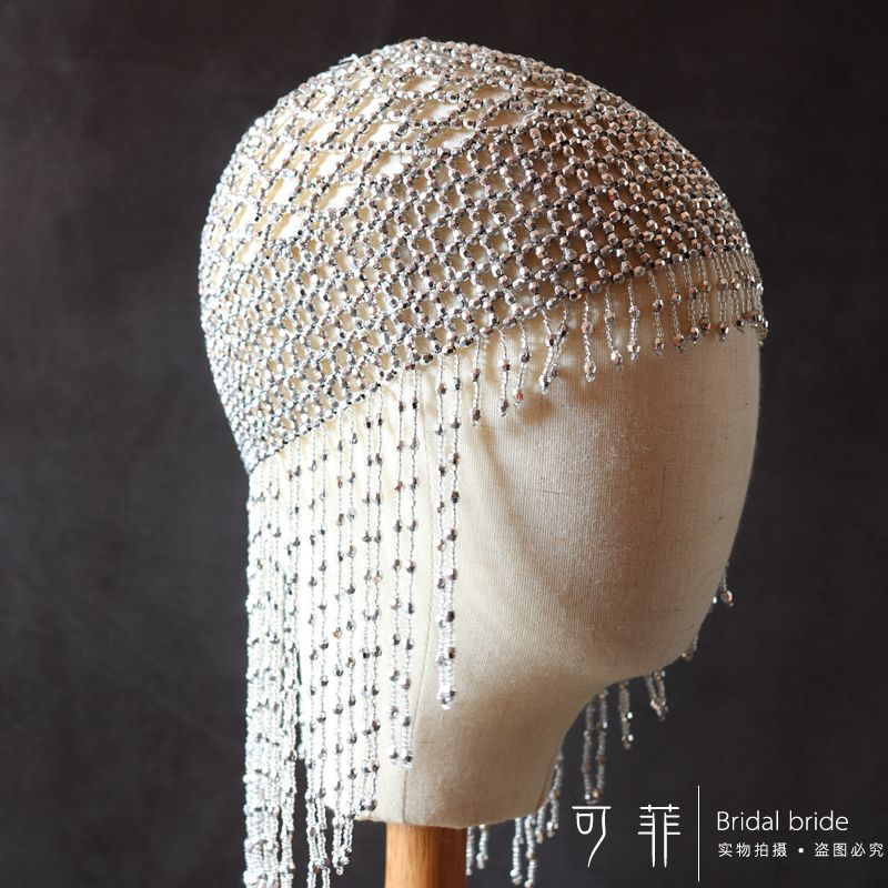 1920s Beaded Cap Headpiece Roaring 20s Beaded Flapper Headpiece Belly Dance Cap Exotic Cleopatra Headpiece for Gatsby Themed Party (Silver)  (5)