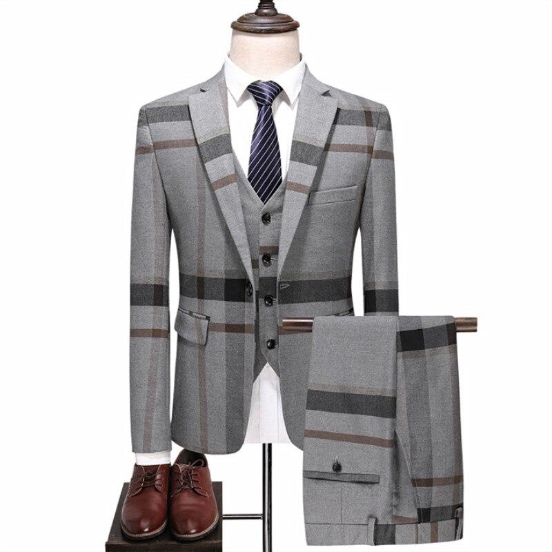2019 New Suit 3 Piece Set (jacket + Vest + Pants) Business High-end Custom British Style Child Fashion Plus Size Suits