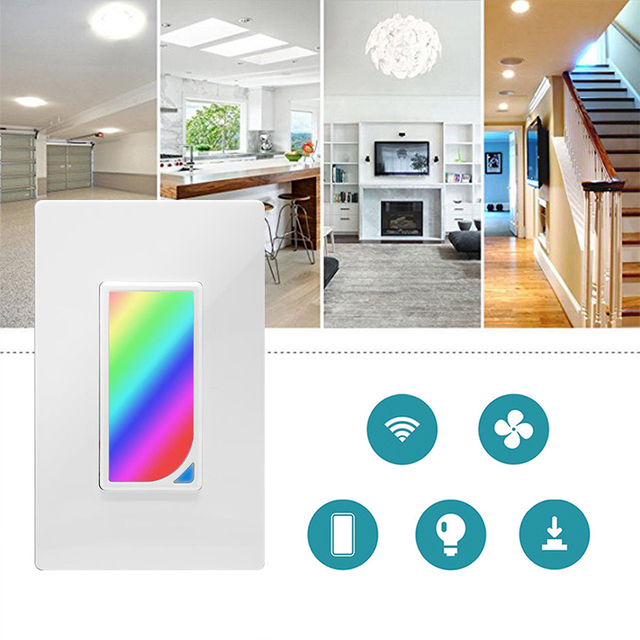 Wifi Wall RGB LED Scene Light Smart Light Switch 1200 Colors 2W RGB Scene Light Color Changing work with alexa google assistant