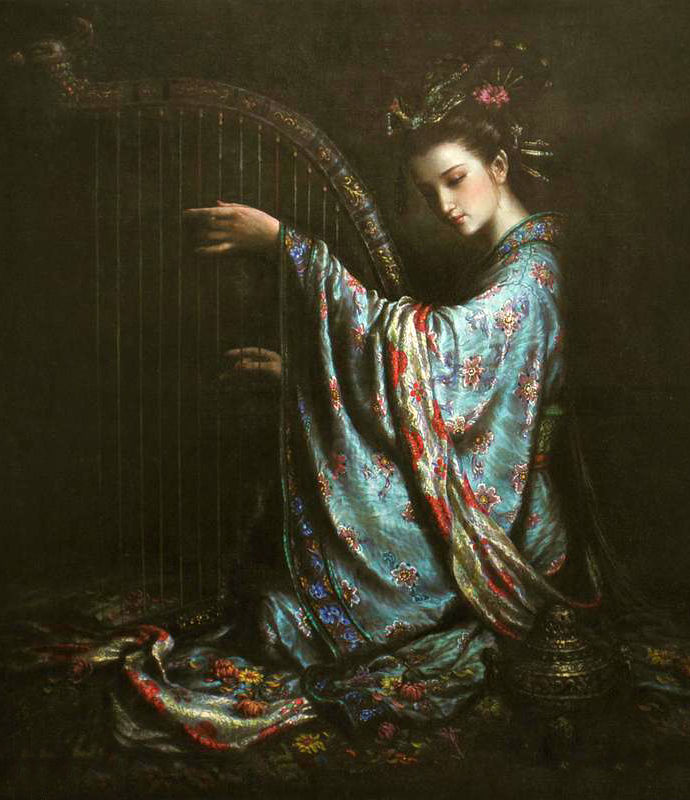 Portret schilderen by hand canvas wall art grote olieverf chinese dun huang vliegende jong meisje spelen crested piano handgeschilderd