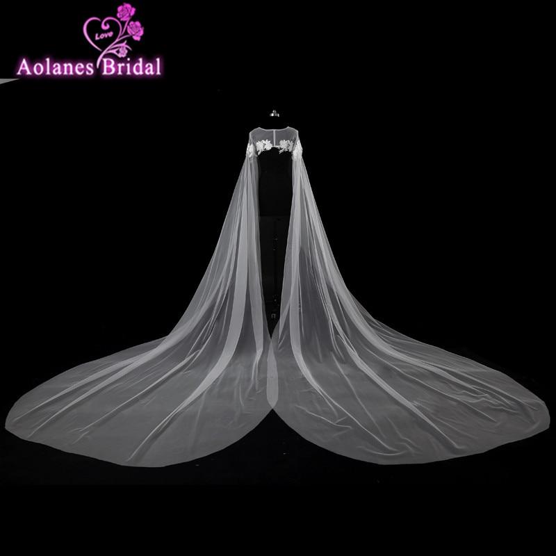 2017 élégante longue dentelle blanche Appliques veste de Mariage Wrap boléro Mariage dentelle Cape de Mariage châle de mariée manteau Shrug accessoires