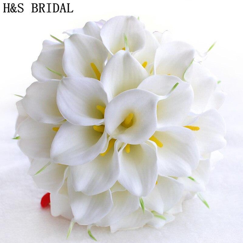 Beautiful White Yellow Calla Lily Wedding Bouquet Brides Bridesmaid artificial flower buque de noiva bouquet wedding