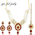 India Jewelry Sets Plated Series Pearl Rhinestone Hollow Out Unique Headdress Carved Vintage Statement Necklace Earrings Set