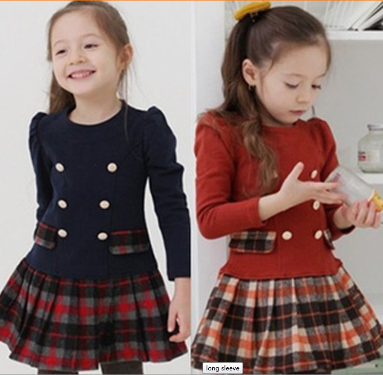 b2bcc19245734 New 2014 Children's Clothing Baby Girl Winter Dress Girls Plaid Winter Dress,Vestidos  de menina,Casual dressD004