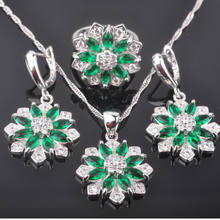 Bridal jewelry Women's 925 Sterling Silver Jewelry Sets Fashion Green Crystal Earrings/Pendant/Necklace/Rings QZ0277(China)