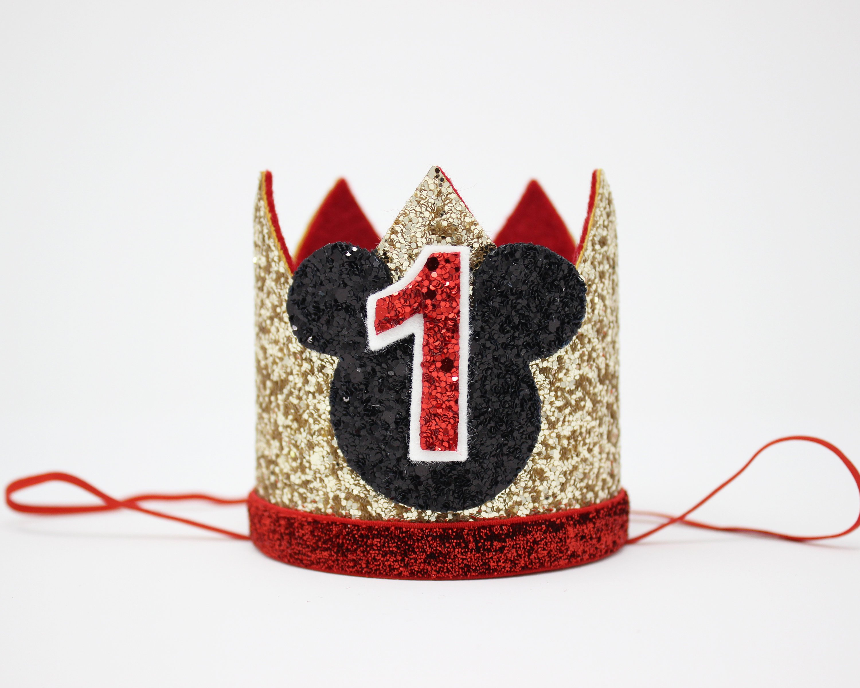 1st Birthday Hat Glitter Birthday Hat First Birthday Crown Kids Birthday Party Crown Hat One Year Old Party Hat Gold Red Black
