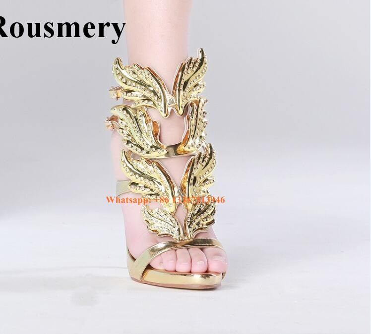 Hot Selling Women Summer Leafs Design Gold Silver Rhinestone High Heel Sandals Stiletto Heel Cut-out Sandals Formal Dress Shoes fashion women s sandals with metal and stiletto heel design