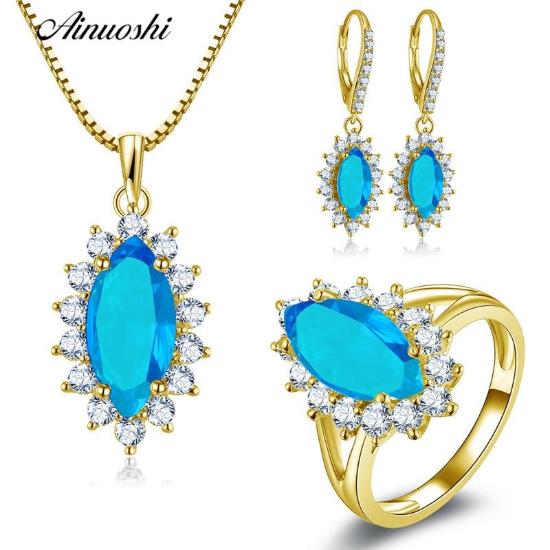 Ainuoshi 10 Karat Solide Gelb Gold Schmuck Set Mauquise Cut Licht Blau Anhänger Ring Tropfen Ohrring Luxuriöse Hochzeit Frauen Schmuck Set