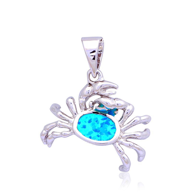 new come Amazing Crab Blue Fire Opal Silver stamp Necklace Pendants for women Fashion jewelry OP454A