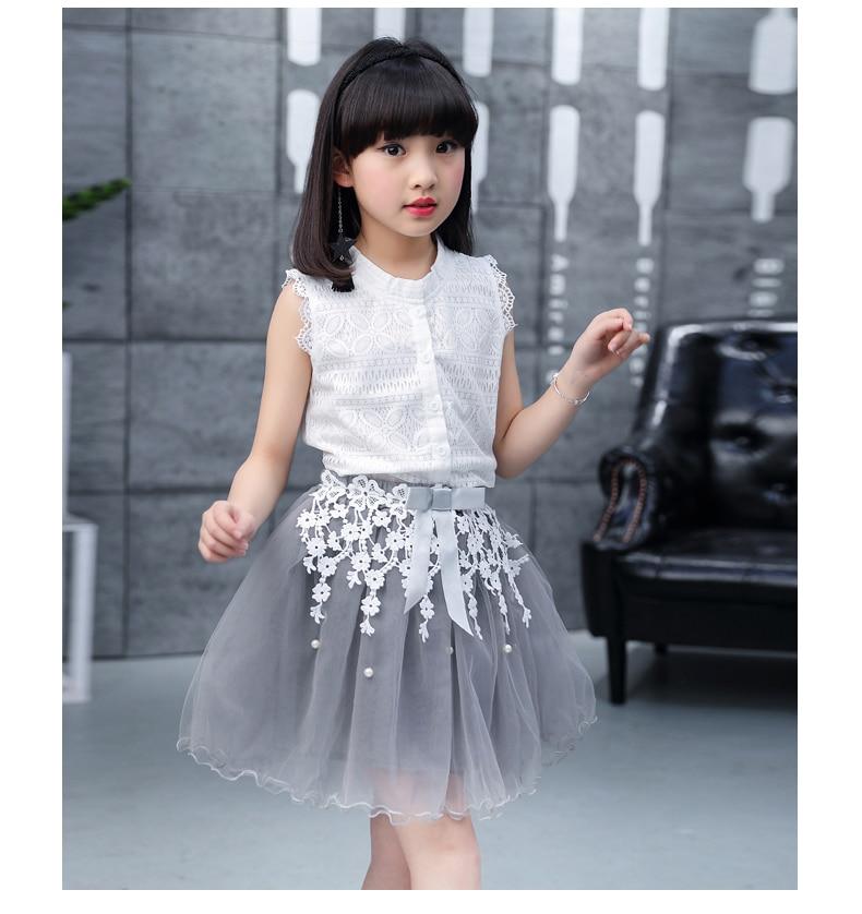 Toddler girl Summer dresses Sleeveless 2-pieces-sets Lace vest + bud silk gauze stitching skirt AliExpress Hot Sale 120 130 140 (16)