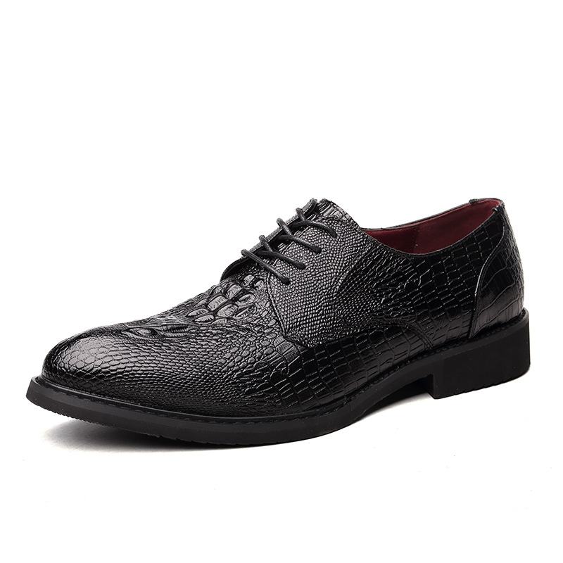 New Style Crocodile Pattern Men Oxford Shoes Flat Dress Shoes Lace Up Cowhide Leather Alligator Shoes for Men