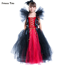 Handmade New Girls Tutu Dress Black and Red Cosplay Witch Halloween Costume Kids Baby Toddler Festival Birthday Tulle Dresses