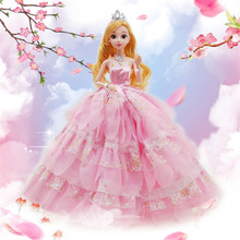3D Vivid Princess Doll Dress Beautiful Outfit Handmade Party Clothes Skirt Lovely Doll For Best Child Toys Girls Gift