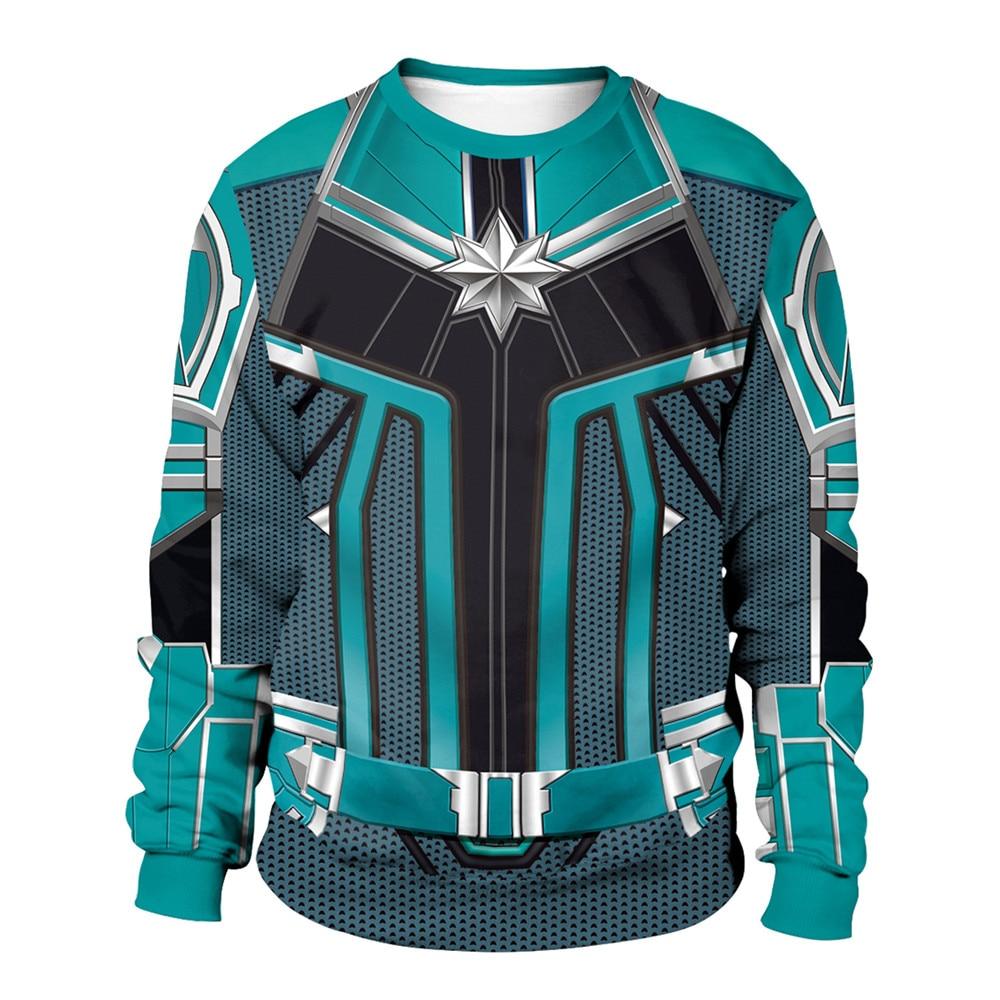 Unisex Captain Marvel Costumes Carol Danvers Ms Marvel 3D Printed Sweatshirt Cardigan Sweater Cosplay