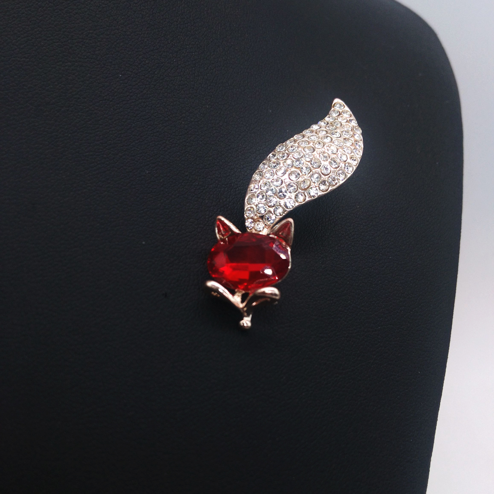 Cute Animal Fox Brooches Jewelry For Women Red Zircon Crystal Rose Gold-Color Alloy Jewellery Accessories Gift Free Shipping