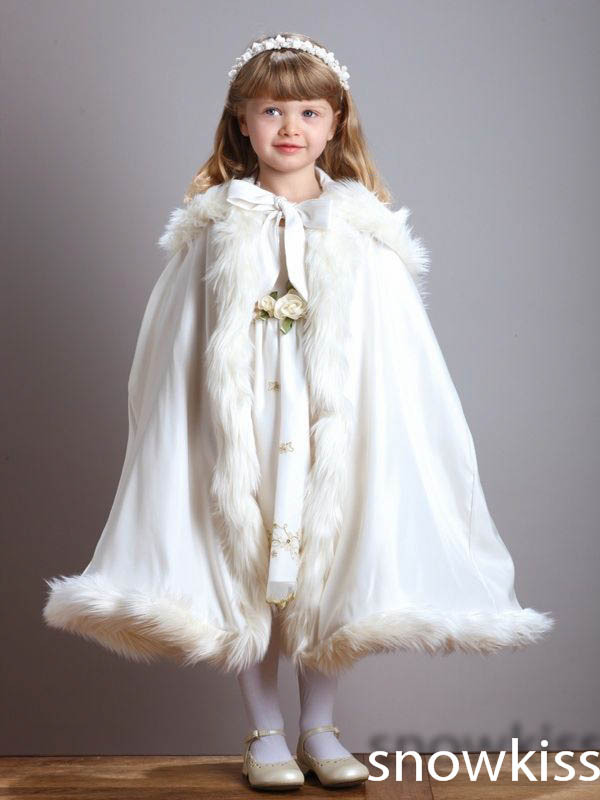 Tea-Length Hooded Girls Cape Ivory/White Wedding Cloaks Faux Fur  Jacket For Winter Kid Flower Girl Children Outerwear & Coats jackson pearce sisters red