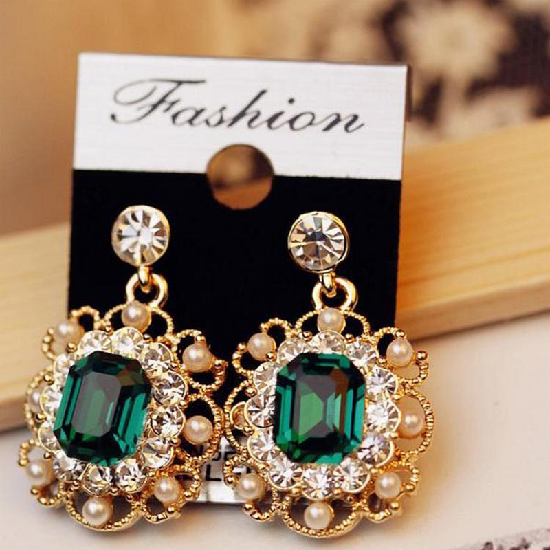 HOMOD New Black Crystal Earrings for Women Big Drop Long Earrings with Stones Black Party Fashion Jewelry Accessories Brincos in Drop Earrings from Jewelry Accessories