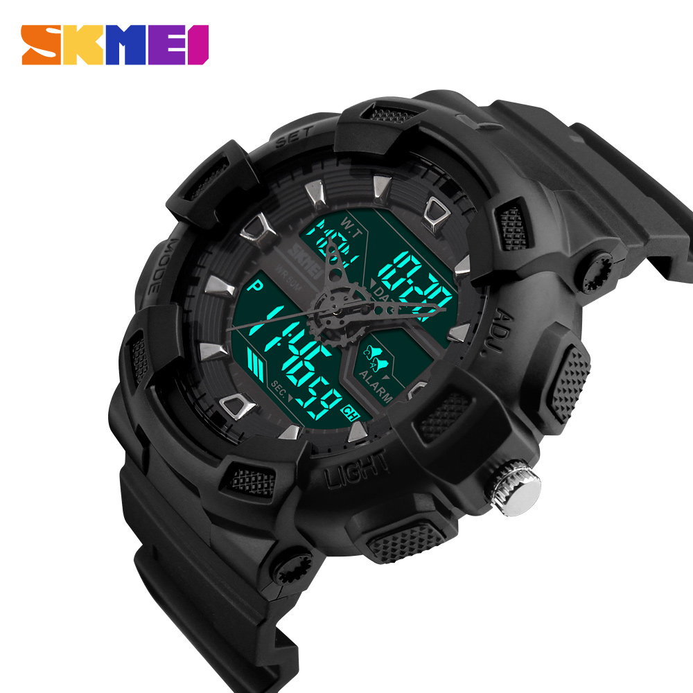 2018 NEW SKMEI Brand Waterproof Sports Men Watches LED Digital Dual Time Watch Fashion Military Outdoor Wristwatches 1189 Clocks