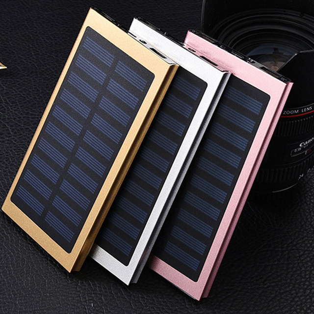 20 pcs 20000 mah solar power bank dual usb carregador de bateria ultra slim externo portátil powerbank para celular ipad