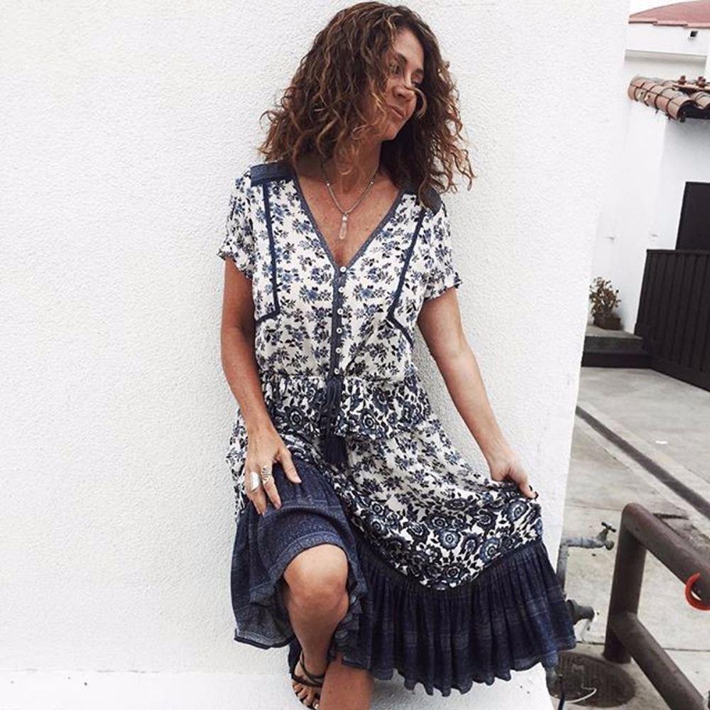 31a4ce728323c US $21.99 30% OFF|Pirate Curiosity Gypsy Indigo Boho Summer Shirt Top V  Neck Short Sleeve Women Shirts Blouse Elle Print Casual Top Blouses  Blusa-in ...