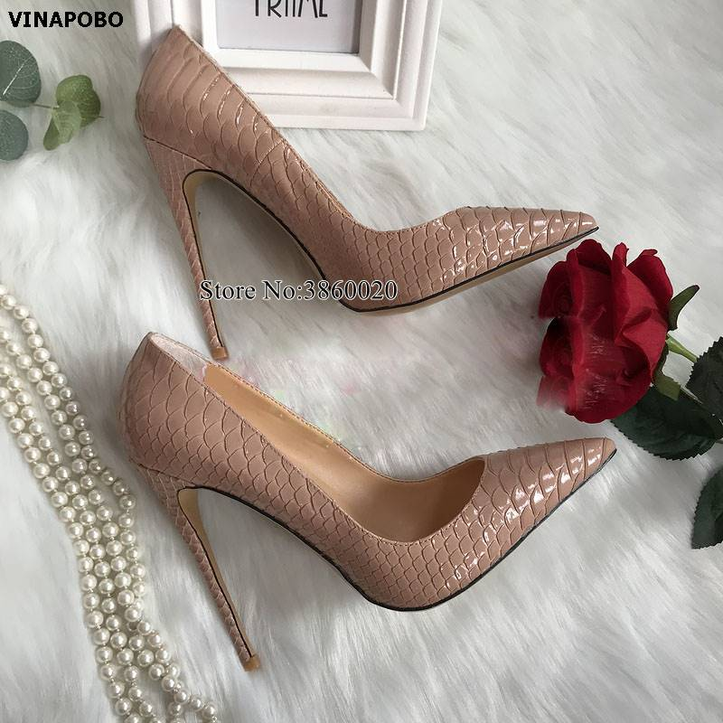 Nude high heels 2019 snake Patent Leather print Women shoes pumps party wedding shoes Women size 43 shallow sexy ladies shoes