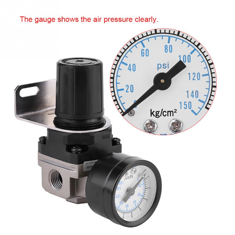 Pneumatic Regulator Adjustable Air Pressure Compressor Control Valve Gauge G1/4 Connection Good Quality New